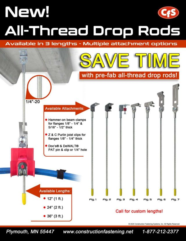 Drop Rods For Electrical Cabling Work